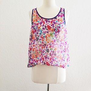 Chloe K Sheer Purple Floral Open Back Tank Size M
